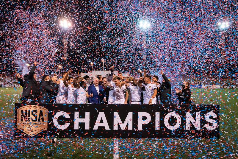 In its first professional season, the Detroit City FC men's side defeated the Oakland Roots, 2-1, to claim the Fall National Independent Soccer Association title under the lights at Keyworth Stadium on Friday night.