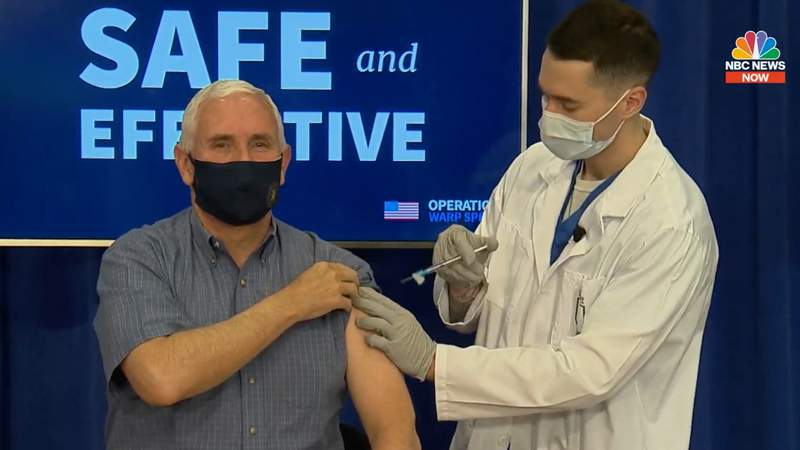 Vice President Mike Pence receives the COVID-19 vaccine on Dec. 18, 2020.