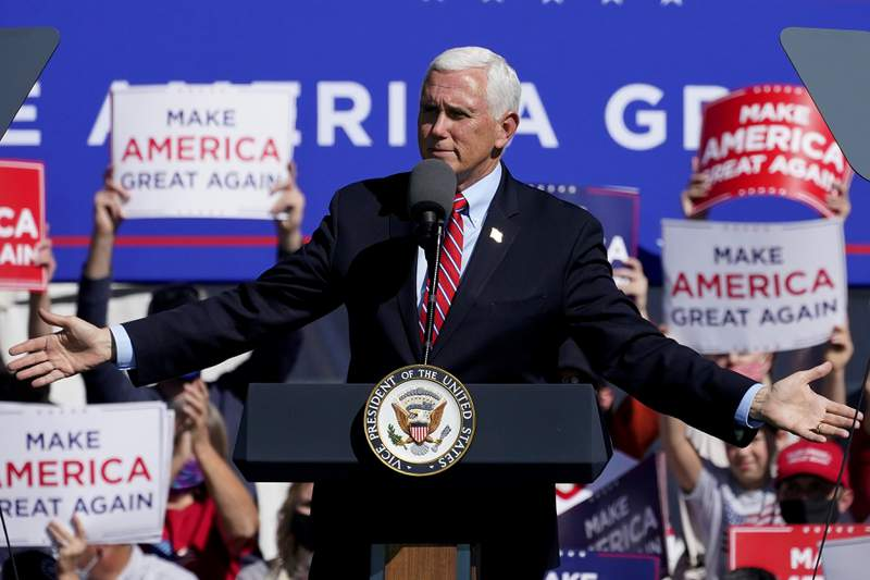 Vice President Mike Pence speaks at a campaign rally, Friday, Oct. 30, 2020, in Flagstaff, Ariz. (AP Photo/Matt York)