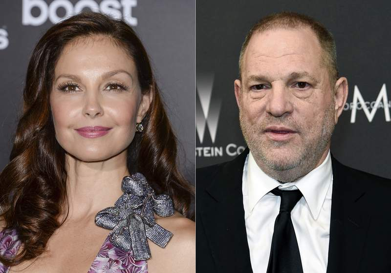 "Ashley Judd attends the premiere of ""The Divergent Series: Insurgent"" in New York on March 16, 2015, left, and film producer Harvey Weinstein arrives at The Weinstein Company and Netflix Golden Globes afterparty in Beverly Hills, Calif. on March 16, 2015. A federal appeals court on Wednesday revived Judds sexual harassment lawsuit against Weinstein. The 9th U.S. Circuit Court of appeal found that the producer had power over the actor that should make her able to sue under a California sexual harassment law. (AP Photo)"