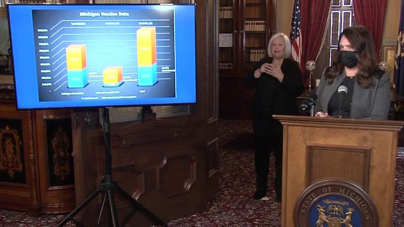 Tricia Foster, the governor's chief operating officer and executive lead on the state's operational response to containing COVID-19, speaks about vaccine distribution during a Jan. 13, 2021, briefing.
