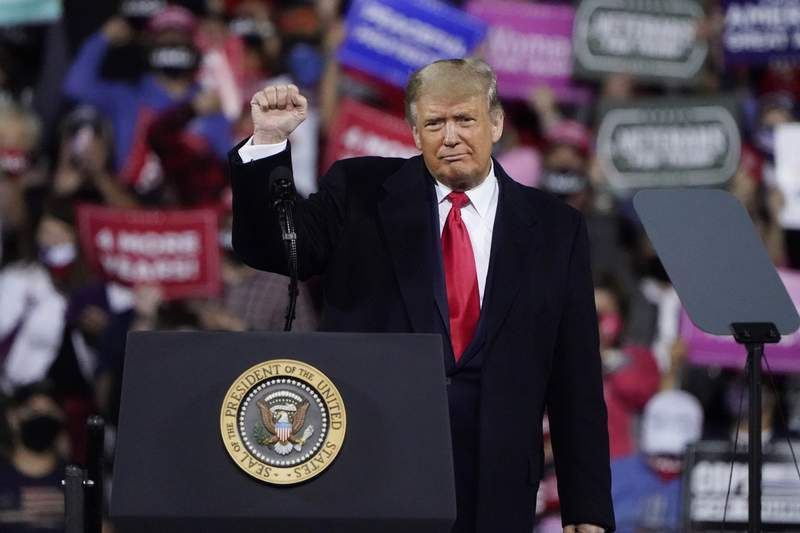 President Donald Trump wraps up his speech at a campaign rally at Fayetteville Regional Airport, Saturday, Sept. 19, 2020, in Fayetteville, N.C. (AP Photo/Chris Carlson)
