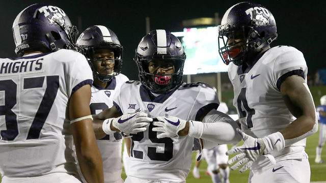 KaVontae Turpin #25 of the TCU Horned Frogs celebrates after scoring a touchdown against the Southern Methodist Mustangs at Gerald J. Ford Stadium on September 7, 2018 in Dallas, Texas. (Photo by Ronald Martinez/Getty Images)