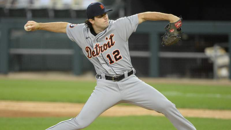 Casey Mize #12 of the Detroit Tigers pitches during his Major League debut against the Chicago White Sox on August 19, 2020 at Guaranteed Rate Field in Chicago, Illinois.