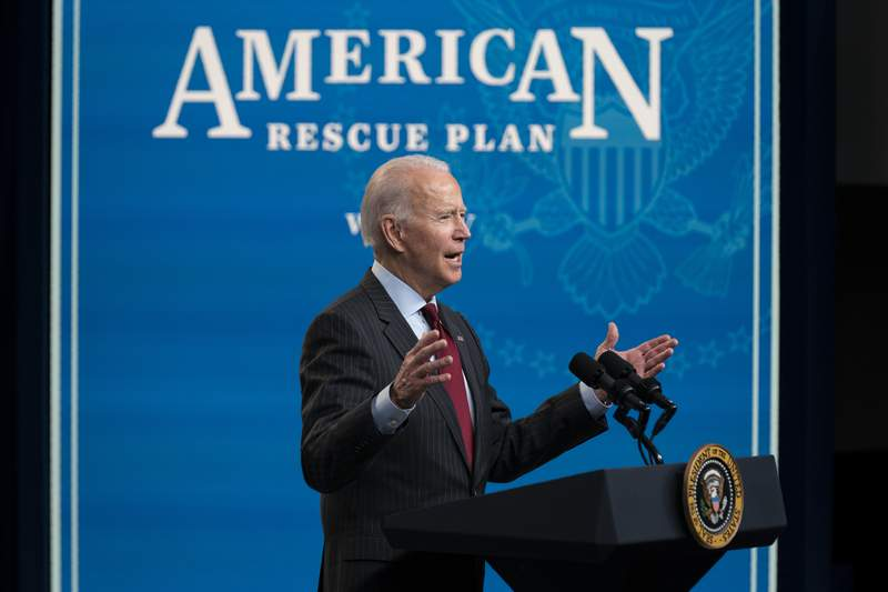 President Joe Biden speaks about the Paycheck Protection Program during an event in the South Court Auditorium on the White House campus, Monday, Feb. 22, 2021, in Washington. (AP Photo/Evan Vucci)