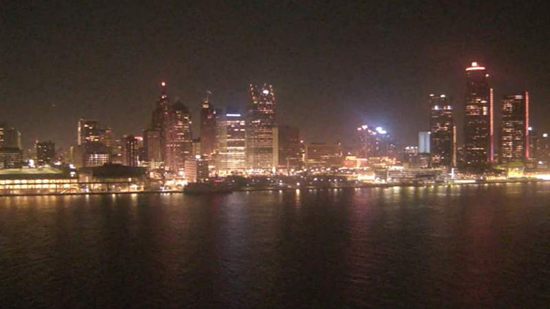 View of Detroit from the Windsor sky camera on Dec. 19, 2019 at 7:51 p.m. (WDIV)