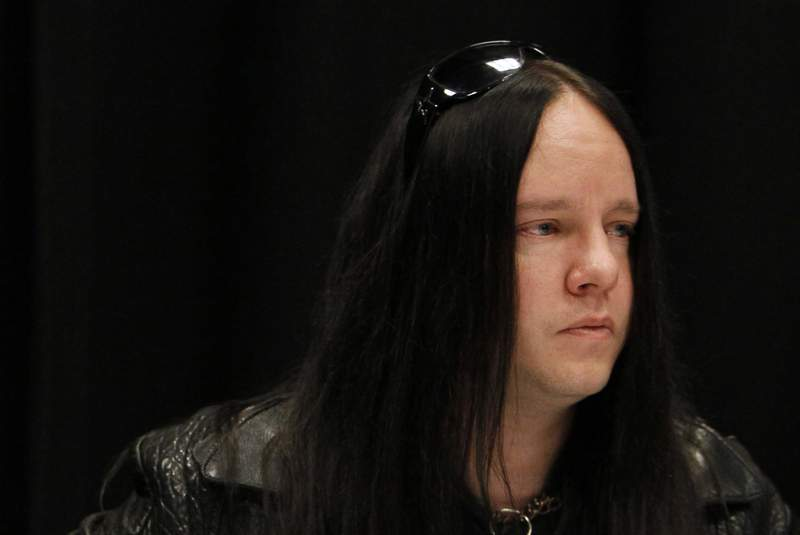 FILE - Slipknot band member Joey Jordison participates in a news conference about the death of bassist Paul Gray on May 25, 2010, in Des Moines, Iowa. Jordison, the founding drummer of the band Slipknot, has died at age 46. Jordison's family says he died peacefully in his sleep Monday, July 26, 2021. (AP Photo/Charlie Neibergall, File)