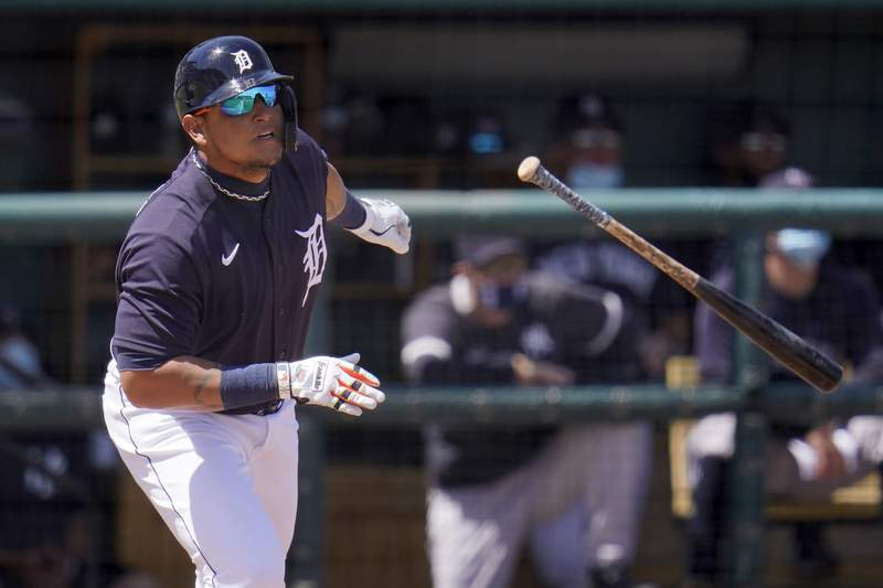 Detroit Tigers' Miguel Cabrera watches his fly to deep right field during the second inning of a spring training exhibition baseball game against the New York Yankees in Lakeland, Fla., Tuesday, March 23, 2021. The ball was caught for an out. (AP Photo/Gene J. Puskar)
