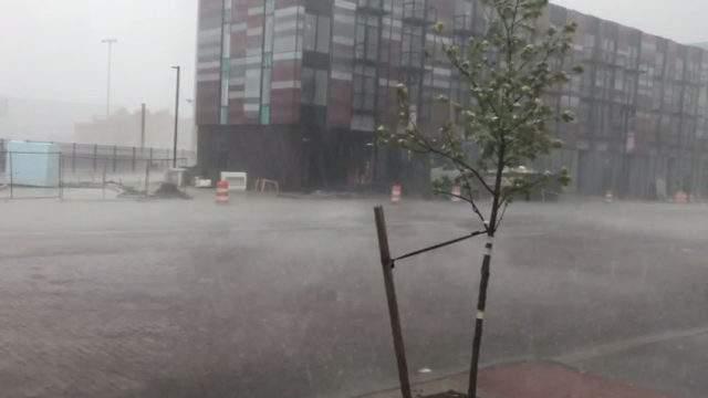 Hail falls in Detroit on June 28, 2019. (WDIV)