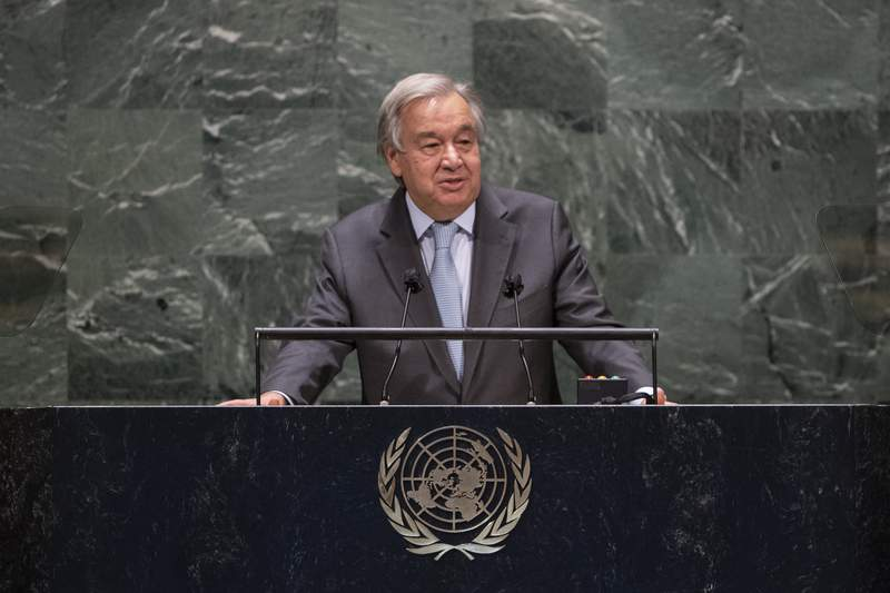 In this photo provided by the United Nations, Secretary-General Antnio Guterres speaks during the 75th session of the United Nations General Assembly, Tuesday, Sept. 22, 2020, at U.N. Headquarters in New York. The U.N.'s first virtual meeting of world leaders started Tuesday with pre-recorded speeches from some of the planet's biggest powers, kept at home by the coronavirus pandemic that will likely be a dominant theme at their video gathering this year. (Eskinder Debebe/UN via AP)
