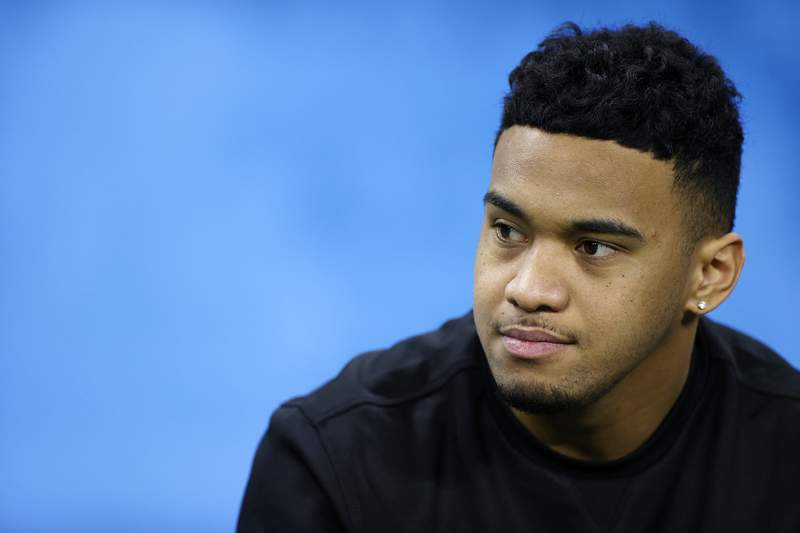 INDIANAPOLIS, IN - FEBRUARY 27: Quarterback Tua Tagovailoa of Alabama looks on during the NFL Scouting Combine at Lucas Oil Stadium on February 27, 2020 in Indianapolis, Indiana. (Photo by Joe Robbins/Getty Images)