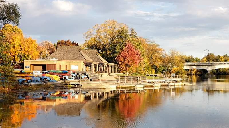 The Gallup Park canoe livery in Ann Arbor, Michigan.
