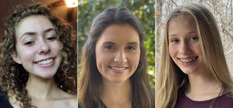 """This combination of images released by Academy of American Poets shows, from left, Hallie Knight, 17, a high school senior from Jacksonville, Fla., Mina King, a 17-year-old from Shreveport, La., and 12-year-old Gabrielle Marshall, from Richmond, Va.. who came in first, second and third respectively in a poetry contest organized by the Academy of American Poets for which students wrote their own inaugural poems. Knight's poem is called To Rebuild. and King's poem is In Pursuit of Dawn,"""" and Marshall's poem is """"The Power of Hope."""" The official inaugural poem will be read during Wednesday's ceremony by Amanda Gorman, the countrys first Youth Poet Laureate. (Photos by Hallie Knight, from left, Robin Hines and Jan Marshall/Academy of American Poets via AP)"""