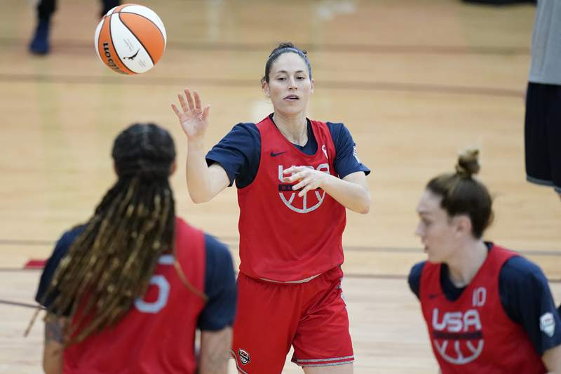 Sue Bird passes during practice for the United States women's basketball team in preparation for the Olympics, Tuesday, July 13, 2021, in Las Vegas. (AP Photo/John Locher)