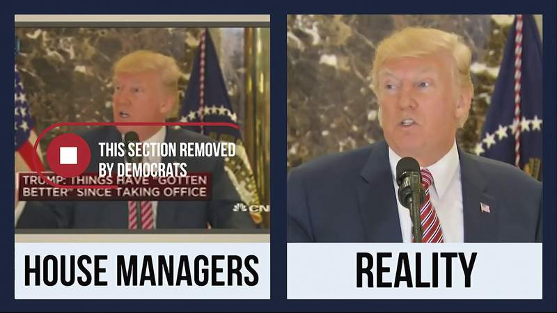 This is a screenshot of the defense exhibit video played for senators as part of the presentation by David Schoen, an attorney for former President Donald Trump, during Trump's second impeachment trial in the Senate at the U.S. Capitol in Washington, Friday, Feb. 12, 2021. Trumps defense team used the split screen to try to make the case that the Democratic prosecutors had taken the former president's words out of context and that Trump cannot be held responsible for inciting the deadly Jan. 6 riot by his supporters at the Capitol. (Senate Television via AP)