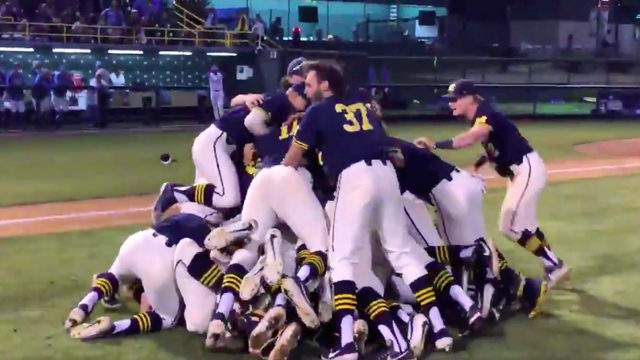 Michigan baseball players celebrate after beating No. 1 UCLA to advance to the College World Series on June 10, 2019. (Photo: Michigan baseball/@umichbaseball)