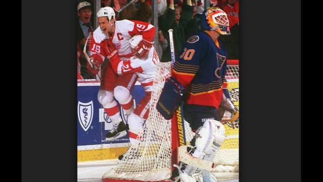 Steve Yzerman celebrates his winning goal in double overtime of Game 7 against the St. Louis Blues in 1996.