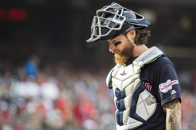 Eric Haase #38 of the Cleveland Indians looks on against the Washington Nationals during the second inning at Nationals Park on September 28, 2019 in Washington, DC.