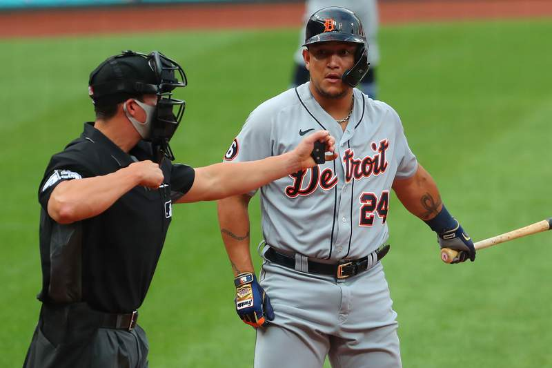 Miguel Cabrera #24 of the Detroit Tigers reacts to being called out on strikes by home plate umpire Shane Livensparger #43 in a game against the St. Louis Cardinals in the third inning during game two of a doubleheader at Busch Stadium on September 10, 2020 in St Louis, Missouri.