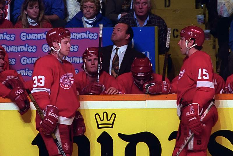 TORONTO, ON - FEBRUARY 5: Head Coach Scotty Bowman of the Detroit Red Wings watches the play against the Toronto Maple Leafs during NHL game action on February 5, 1994 at Maple Leaf Gardens in Toronto, Ontario, Canada. (Photo by Graig Abel/Getty Images)