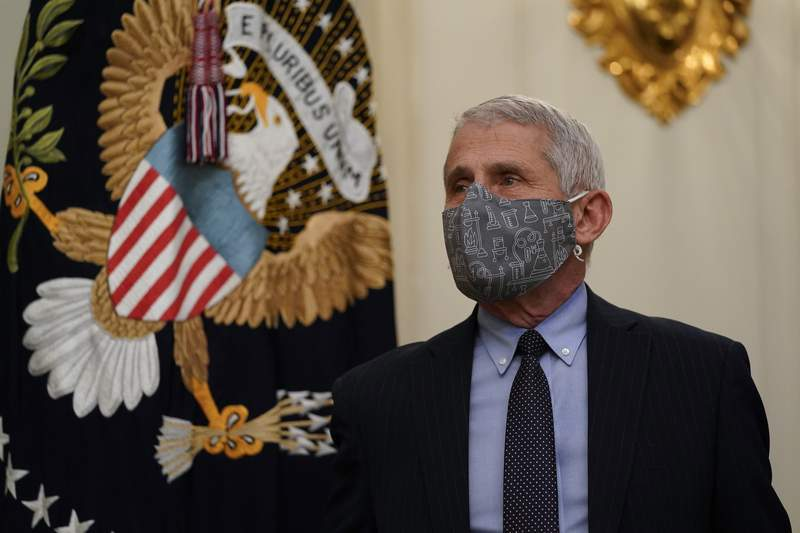 Dr. Anthony Fauci, director of the National Institute of Allergy and Infectious Diseases, arrives for an event with President Joe Biden on the coronavirus in the State Dinning Room of the White House, Thursday, Jan. 21, 2021, in Washington. (AP Photo/Alex Brandon)