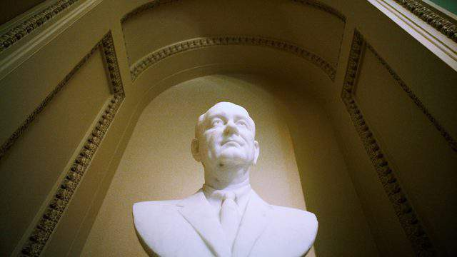 A bust of President Lyndon Johnson is seen in the U.S. Capitol prior to a Capitol Hill luncheon (Brendan Hoffman/Getty Images).