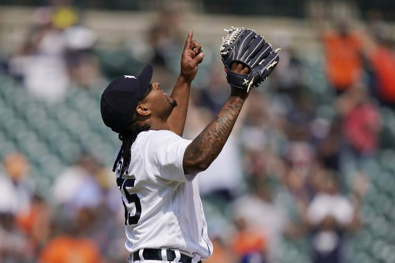 Detroit Tigers relief pitcher Gregory Soto in the ninth inning of a baseball game against the Texas Rangers, Thursday, July 22, 2021, in Detroit.