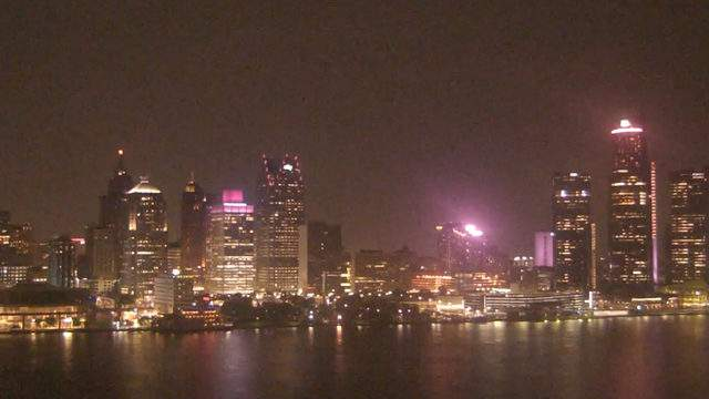 View of Detroit from the Windsor sky camera on Oct. 21, 2019 at 8:05 p.m. (WDIV)