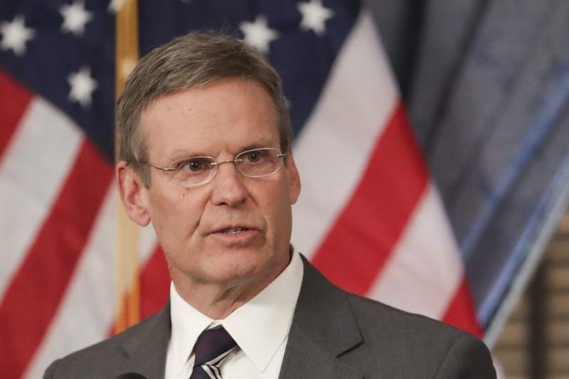 FILE - In this March 16, 2020, file photo, Tennessee Gov. Bill Lee answers questions concerning the state's response to the coronavirus during a news conference in Nashville, Tenn. Tennessee abortion providers are asking a federal judge to order that abortions can go forward despite an executive order from Gov. Lee aimed at reducing the spread of the coronavirus. Their lawyers argue in a motion filed on Monday, April 13, 2020, that Lee's order blocking nonemergency healthcare procedures should not apply to abortions. (AP Photo/Mark Humphrey, File)