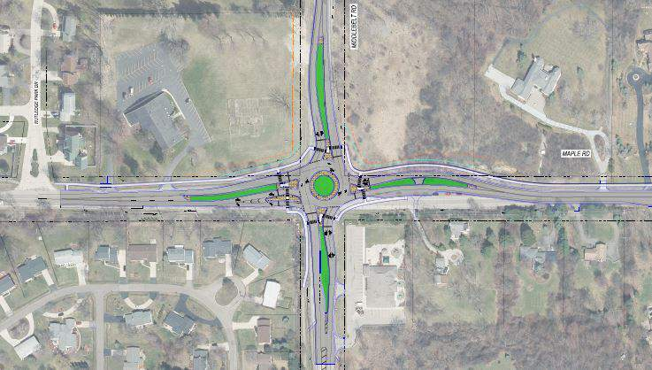 This map shows the maple and Middlebelt Road roundabout