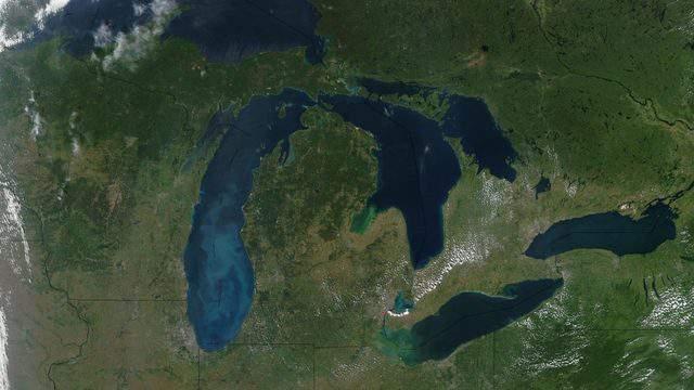 A satellite image of Michigan (NASA)
