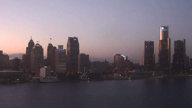View of Detroit from the Windsor sky cam on Aug. 27, 2019 at 8:30 p.m.