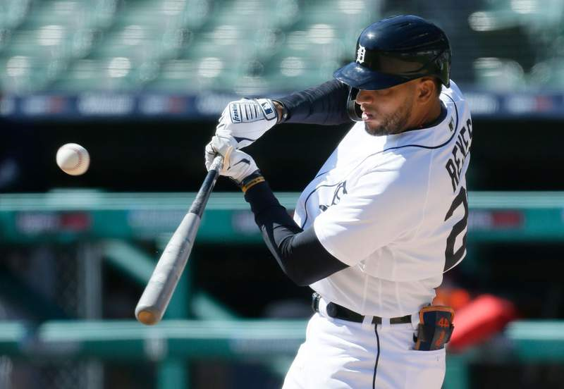 DETROIT, MI -  SEPTEMBER 20:  Victor Reyes #22 of the Detroit Tigers flies out against the Cleveland Indians during the first inning at Comerica Park on September 20, 2020, in Detroit, Michigan. (Photo by Duane Burleson/Getty Images)