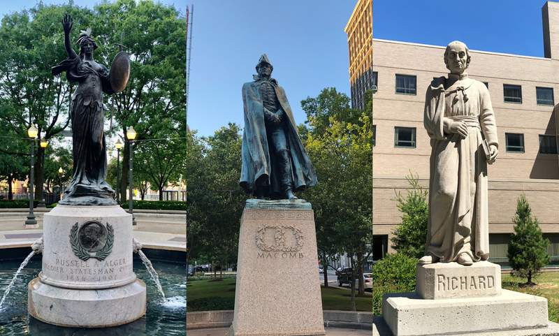 Detroit statues and monuments. (Left to right) Monument for Russell A. Alger; Statue of General Alexander Macomb; Statue of Father Gabriel Richard.