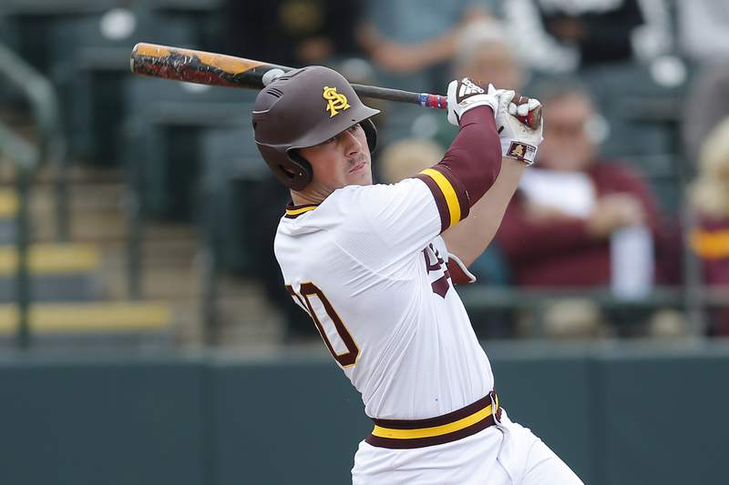 Arizona State's Spencer Torkelson bats during an NCAA college baseball game against Notre Dame in Phoenix. (AP Photo/Rick Scuteri, File)