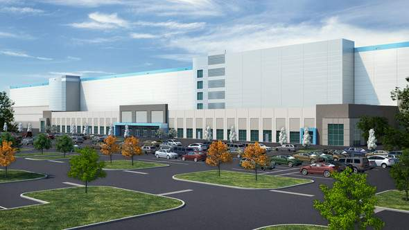 A digital rendering of the proposed Amazon distribution center at the site of the former Michigan State Fairgrounds. Image provided by the city of Detroit