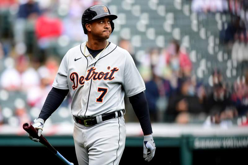 Jonathan Schoop #7 of the Detroit Tigers looks on after striking out in the seventh inning during a game against the Cleveland Indians at Progressive Field on April 11, 2021 in Cleveland, Ohio.