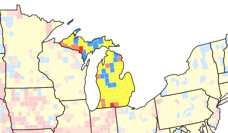 CDC data tracker showing COVID spread in Michigan as of July 27, 2021. Red = high spread, Orange = substantial, Yellow = moderate, Blue = low