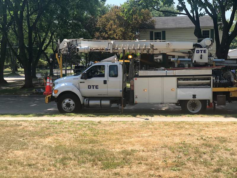 A DTE Energy truck parked on a street Aug. 24, 2020 in Livonia, Mich.