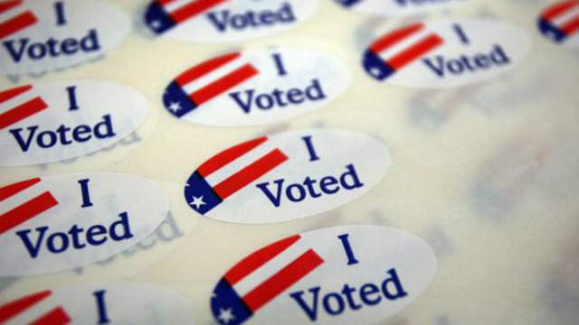 """I Voted"" stickers handed out at polling places. (Getty)"