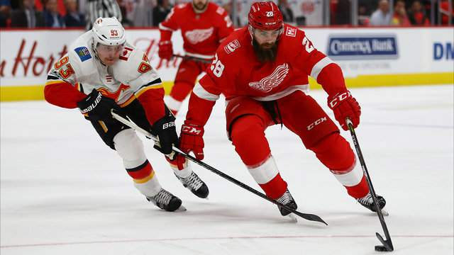 Luke Witkowski #28 of the Detroit Red Wings tries to get around the stick of Sam Bennett #93 of the Calgary Flames during the second period at Little Caesars Arena on November 15, 2017 in Detroit, Michigan. Detroit won the game 8-2. (Photo by Gregory Shamus/Getty Images)