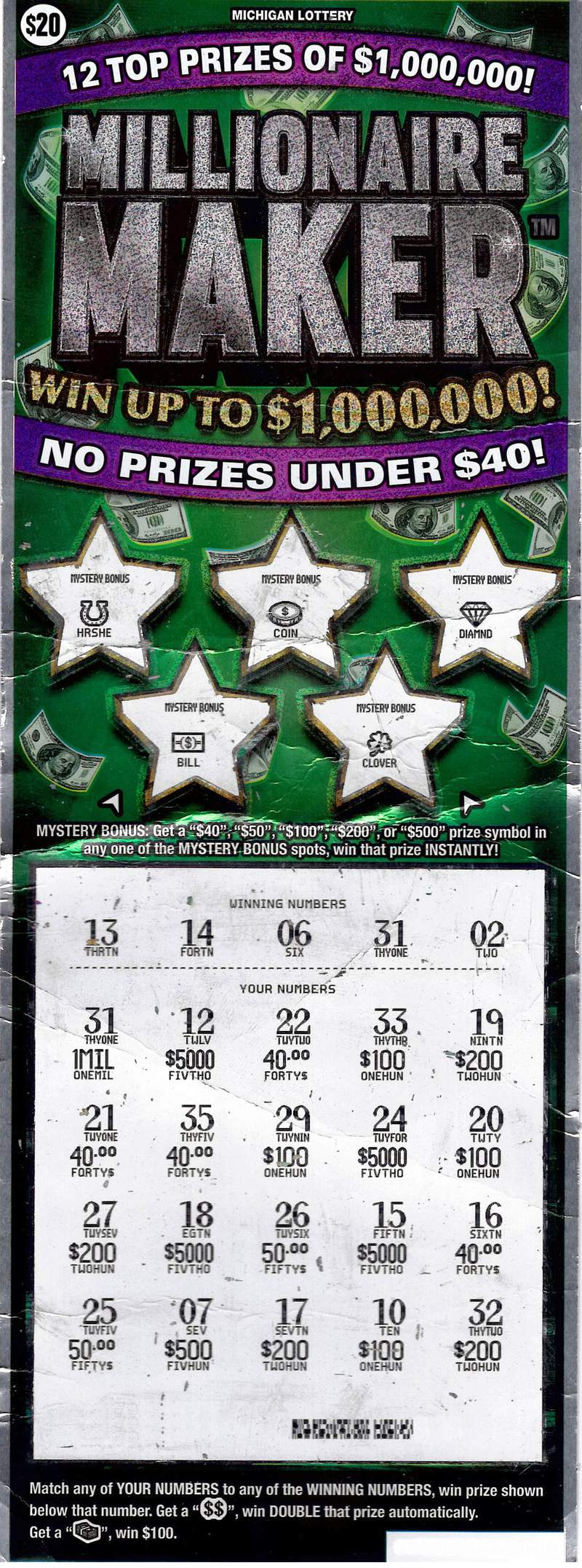 19-Year-Old Lenawee County Man Wins $1 Million Playing the Michigan Lottery's Millionaire Maker Instant Game