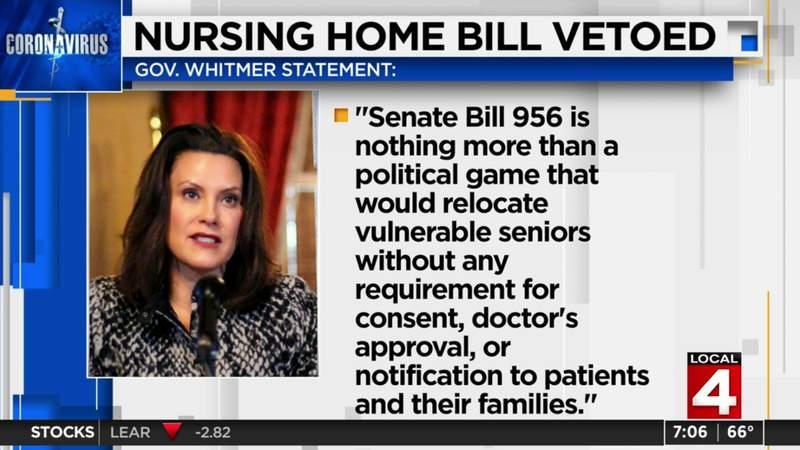 Michigan governor vetoes nursing home bill