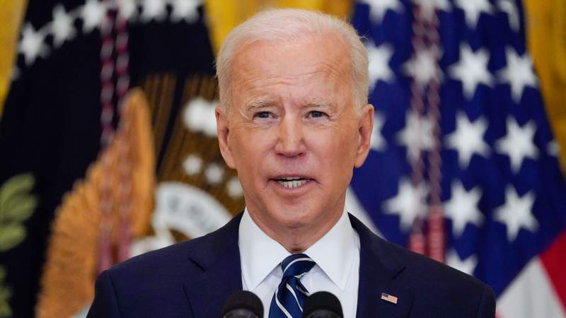FILE - In this March 25, 2021, file photo, President Joe Biden speaks during a news conference in the East Room of the White House in Washington. (AP Photo/Evan Vucci, File)