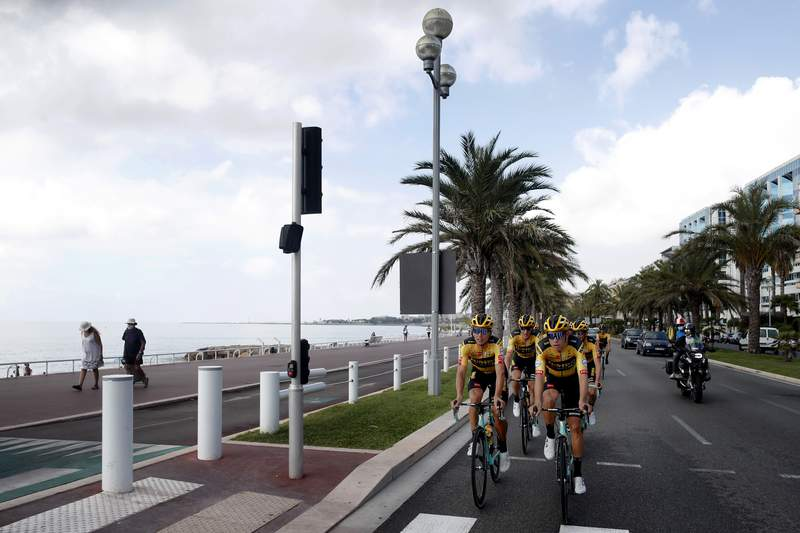 Team Jumbo - Visma riders pedal during a training session along the beach of the Promenade des Anglais in Nice, southern France, ahead of upcoming Saturday's start of the race, Friday, Aug. 28, 2020. The Tour de France sets off shrouded in uncertainty and riding in the face of the coronavirus pandemic and mounting infections in France. (AP Photo/Thibault Camus)