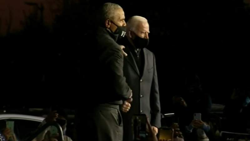 Several attend drive-in rally on Belle Isle held by Joe Biden, former President Barak Obama