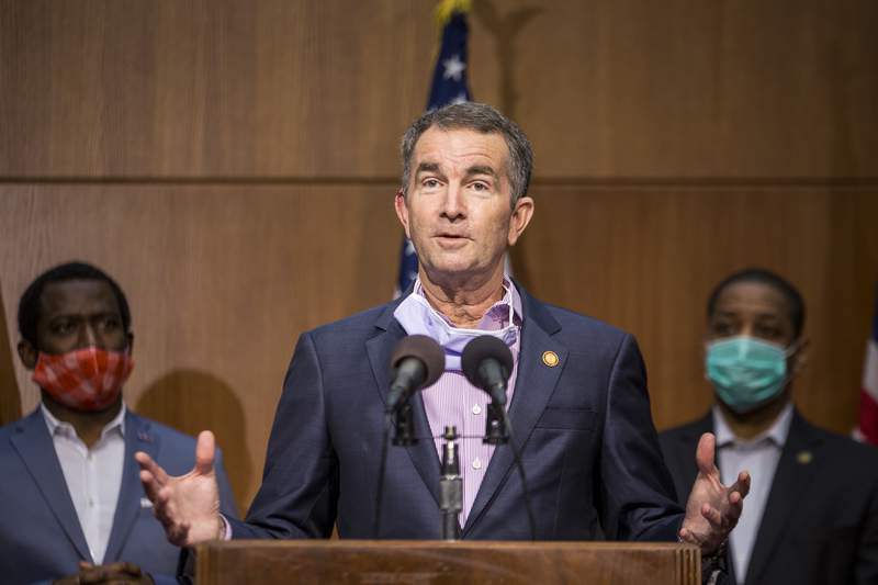 RICHMOND, VA - JUNE 04: Virginia Gov. Ralph Northam (D) speaks during a news conference on June 4, 2020 in Richmond, Virginia. Gov. Northam and Richmond Mayor Levar Stoney announced plans to take down a statue of Confederate General Robert E. Lee on Monument Avenue.  (Photo by Zach Gibson/Getty Images)