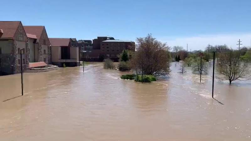 Downtown Midland under water as historic flooding event slams mid-Michigan