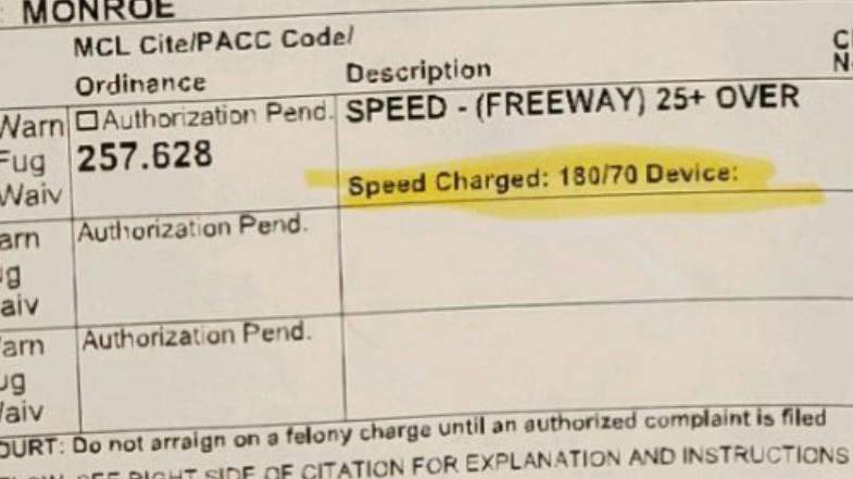 Police clocked a driver traveling 180 mph in Monroe County on April 19, 2020.