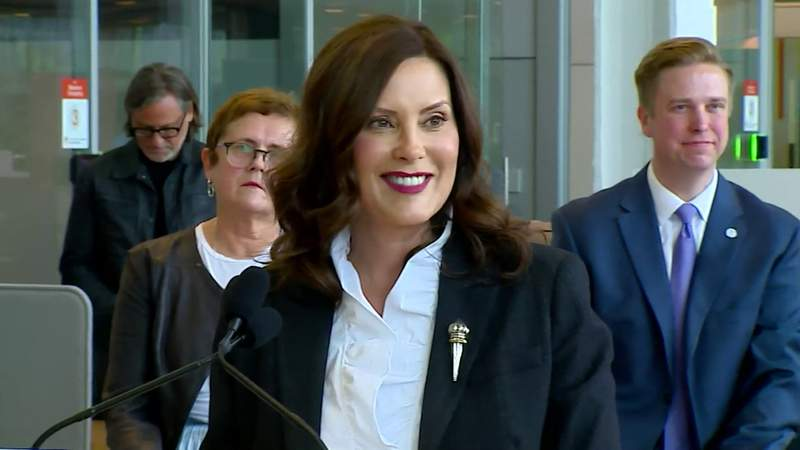 Michigan Gov. Gretchen Whitmer at a May 24, 2021, briefing in Grand Rapids.